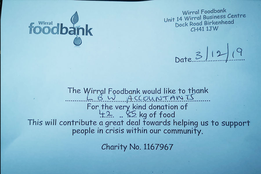 Lbw Support Wirral Foodbank With Reverse Advent Calendar
